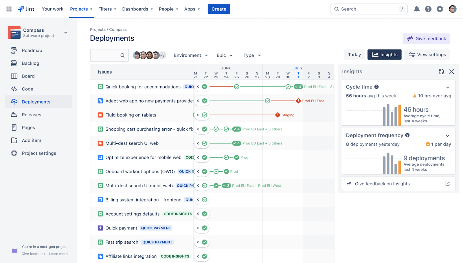 View deployment insights inside Jira Software