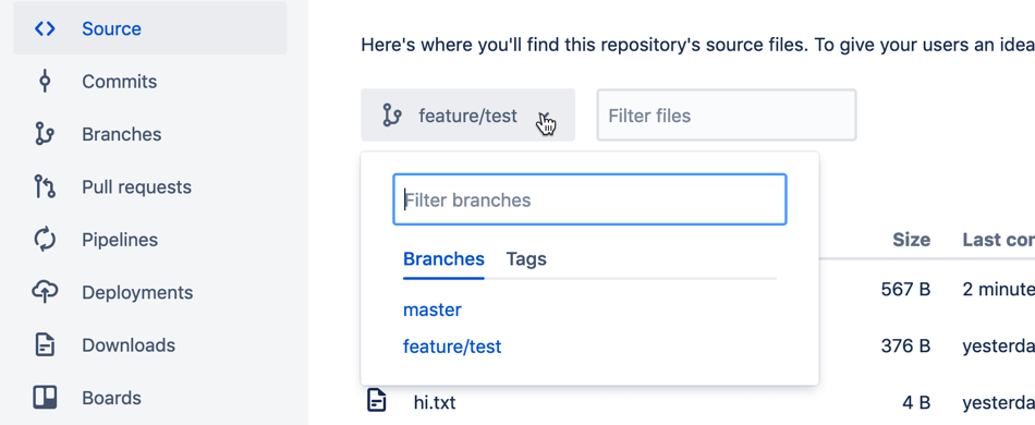 Branches filteren