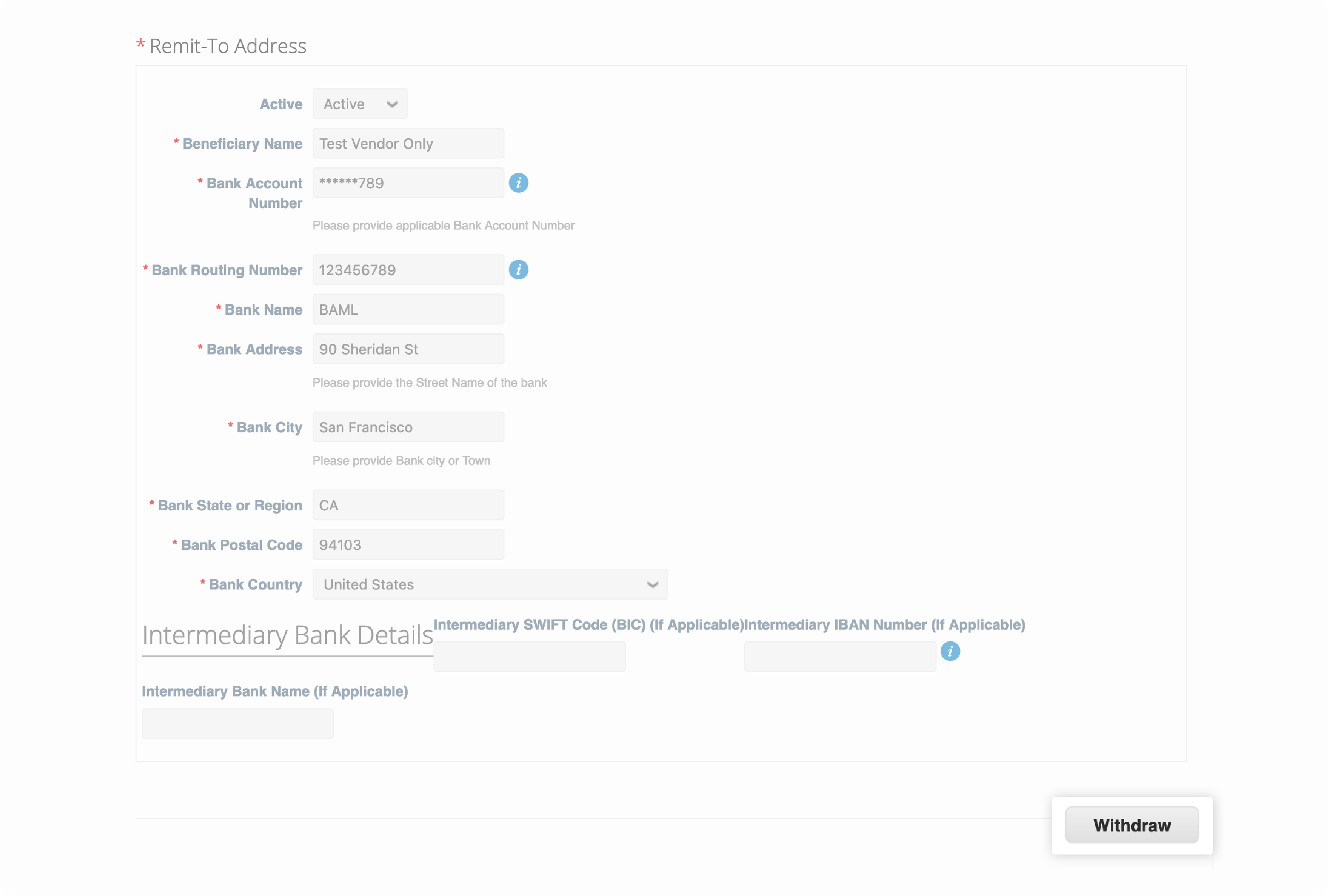 Coupa Supplier Portal Remit-To Address form Withdraw button