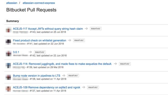 Bitbucket pull requests