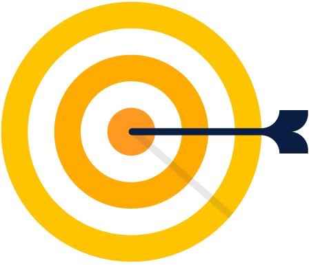 Illustrazione di un bersaglio con freccia al centro