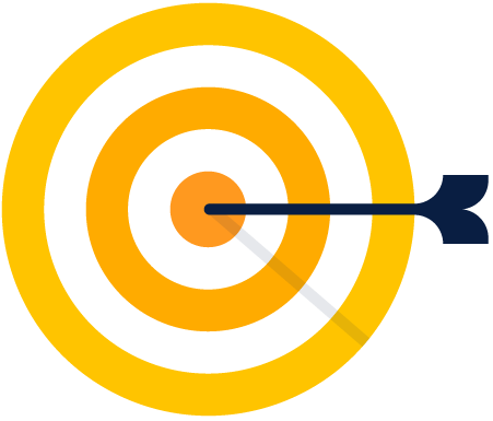 Target with arrow in bullseye illustration