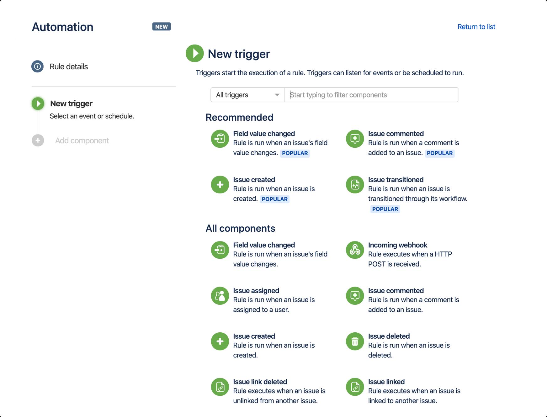 Captura de pantalla de las reglas de automatización de un solo proyecto