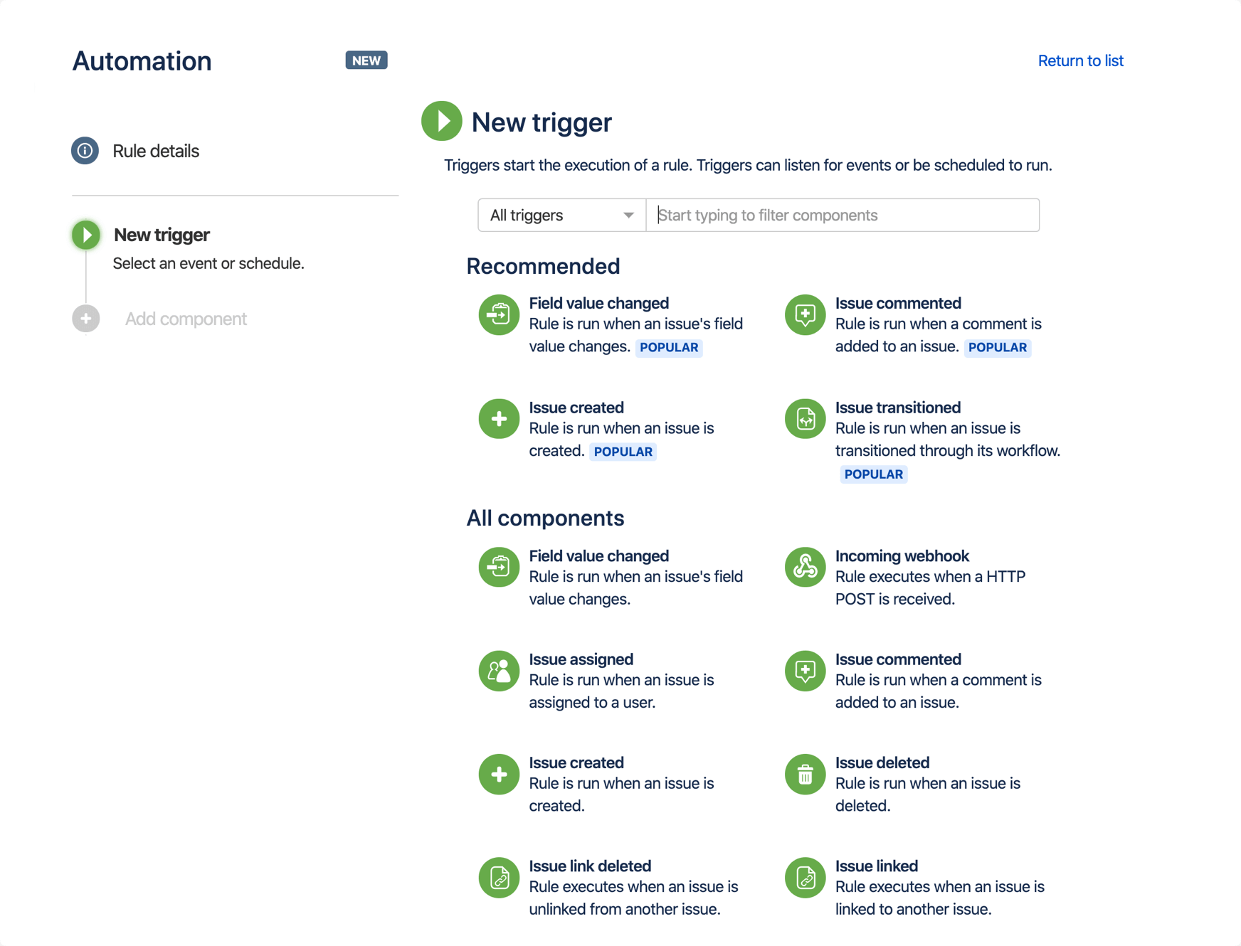 Képernyőkép az egy projektre vonatkozó automatizálási szabályokról