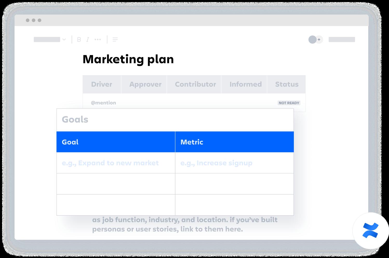 Template de plano de marketing do Confluence