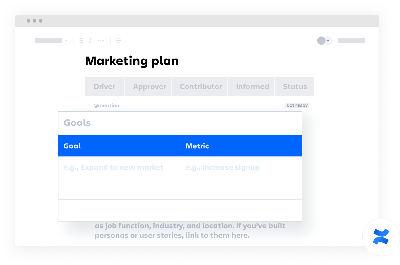Plantilla de plan de marketing de Confluence