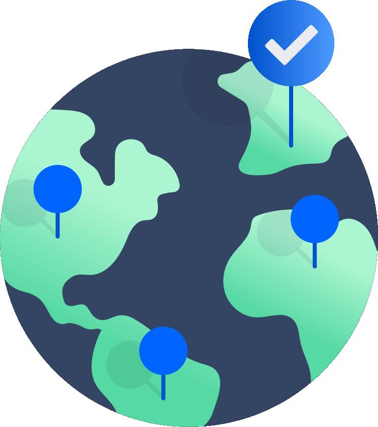 欧州にチェックマークの付いた地球の図