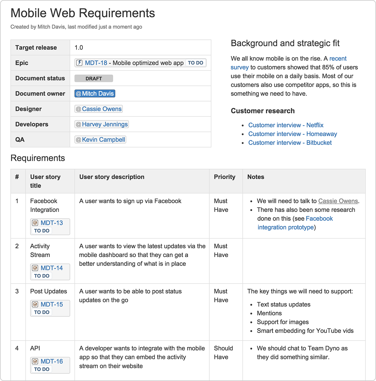 Example of a one-page product requirements document