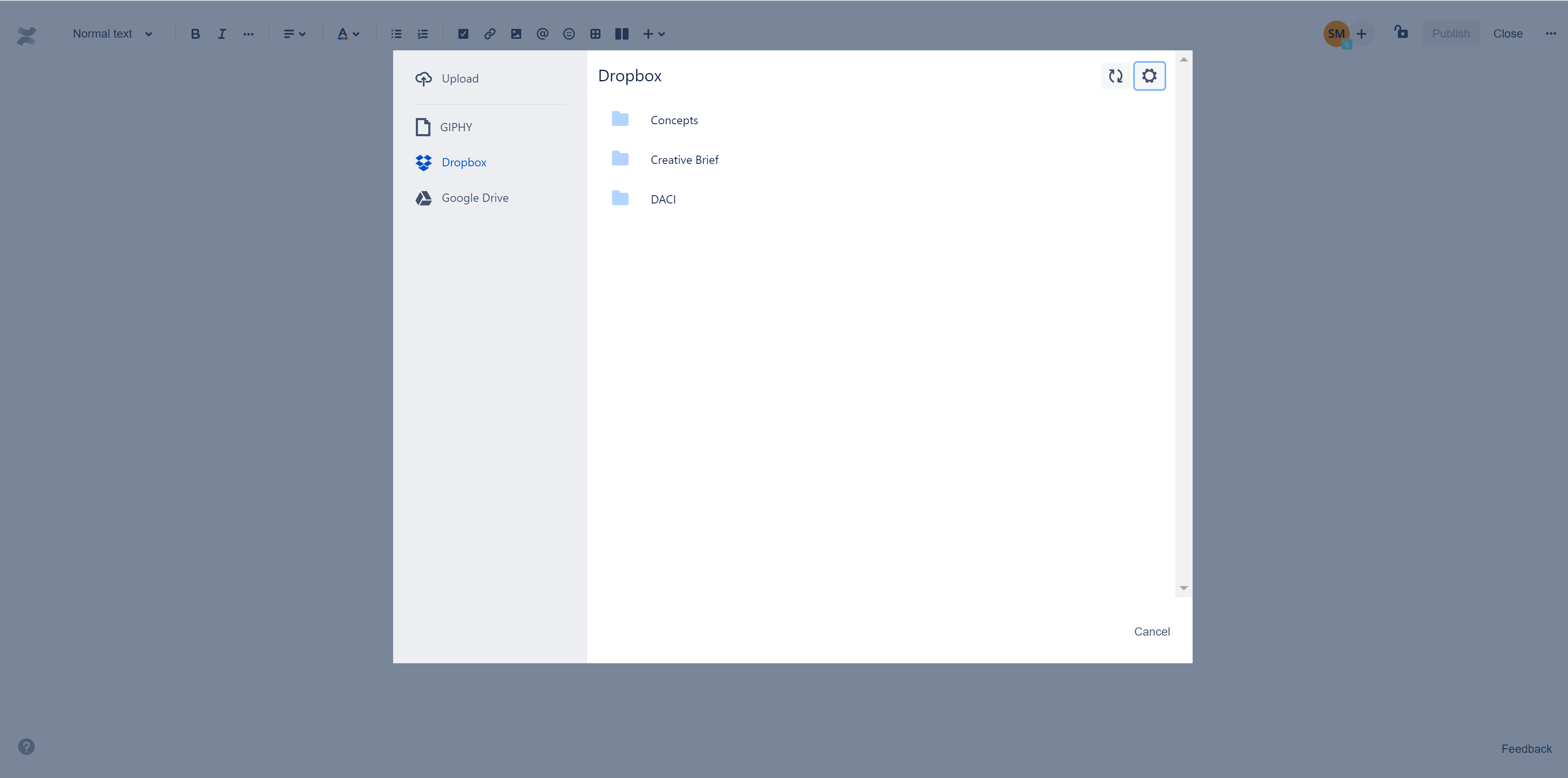 Confluence Dropbox feature