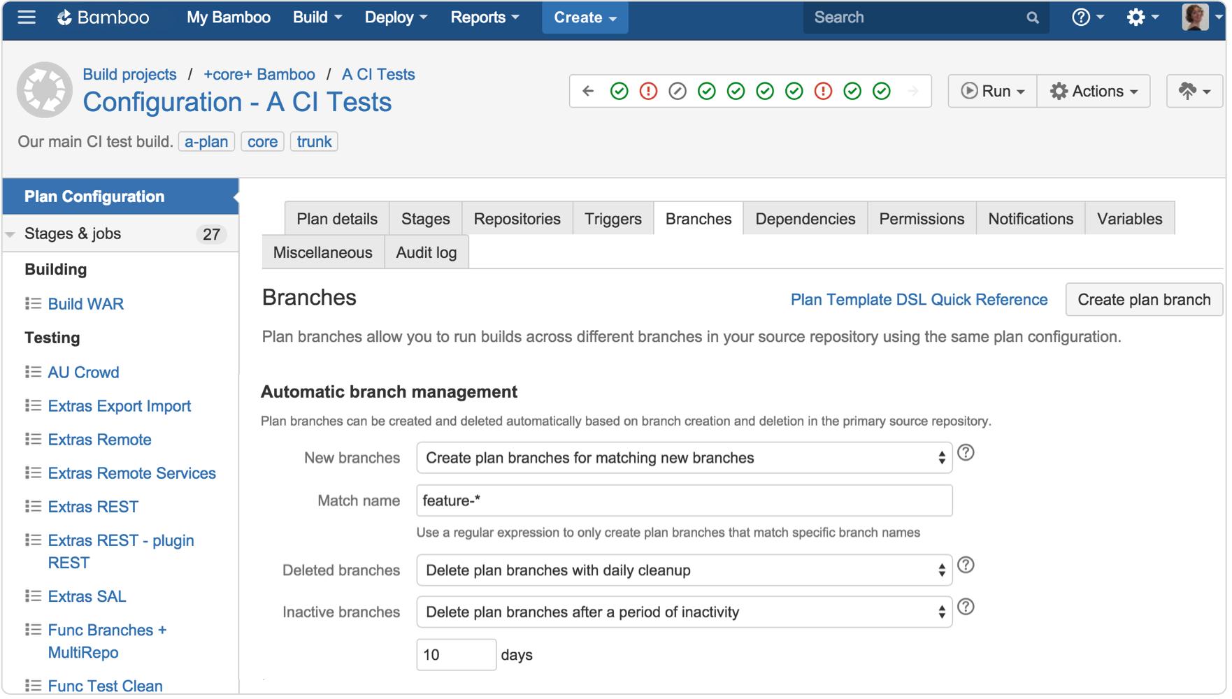 Captura de tela de gerenciamento de branches de configuração do Bamboo