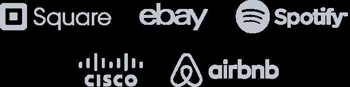 Logo's van Square, Ebay, Spotify, Cisco en Airbnb