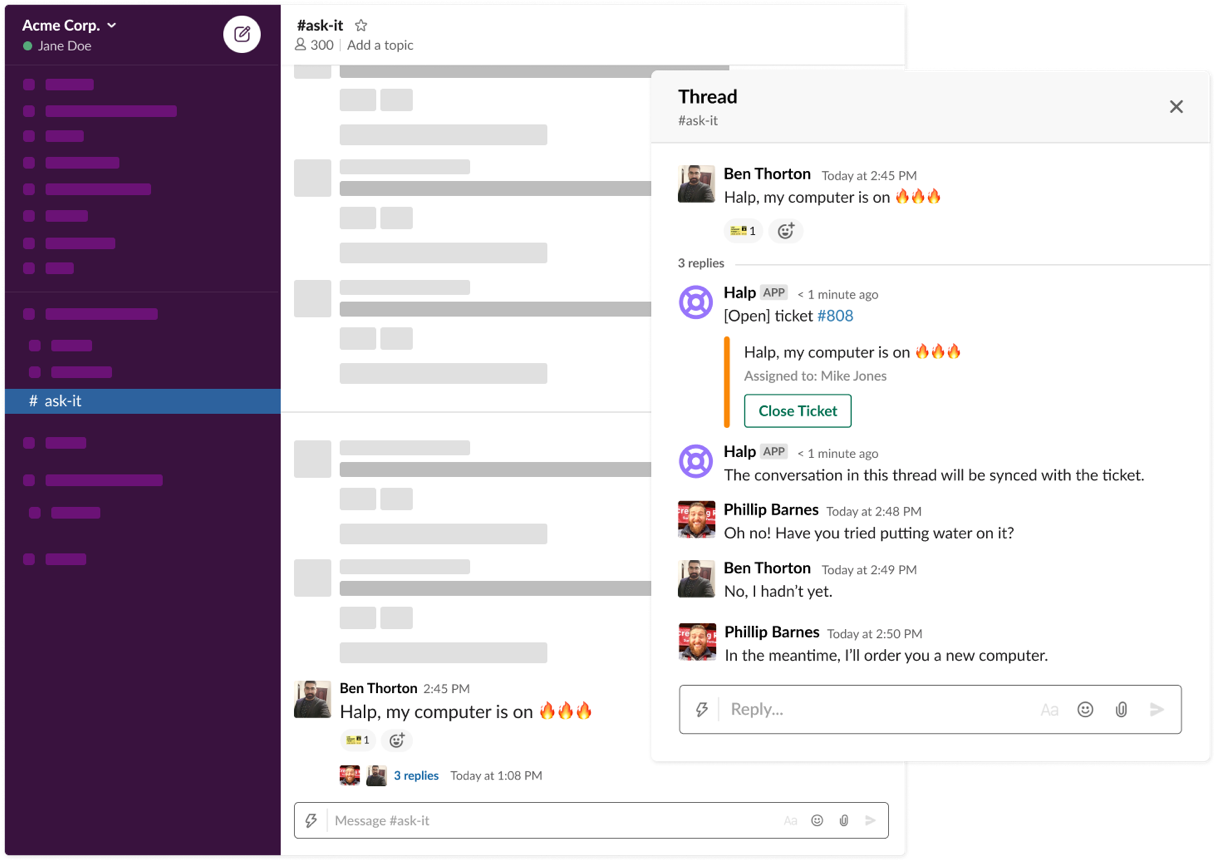 Turn Slack messages into tickets