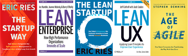 5 Lean books: The startup way, lean enterprise, the lean startup, lean ux, and the age of agile