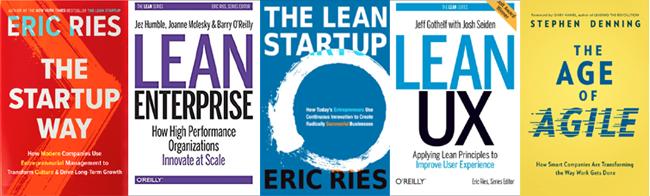 """5Bücher zu Lean-Prinzipien: """"The Startup Way"""", """"Lean Enterprise"""", """"Lean Startup"""", """"Lean UX"""" und """"The Age of Agile"""""""