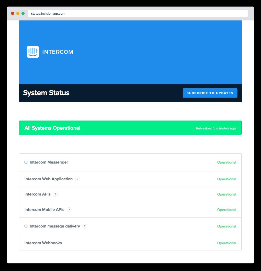Screenshot van Intercom-statuspagina