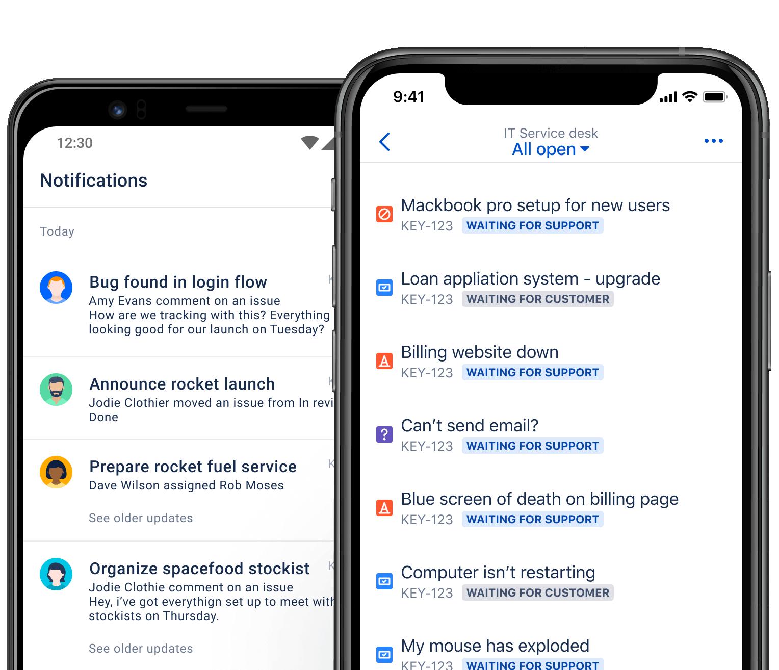 Smartfon z wyświetlonymi statusami zgłoszeń