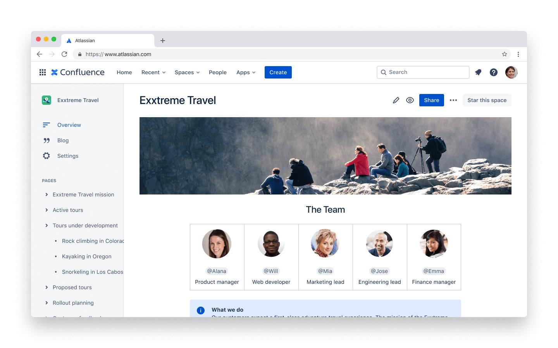 Screenshot van onbeperkte spaces en pagina's