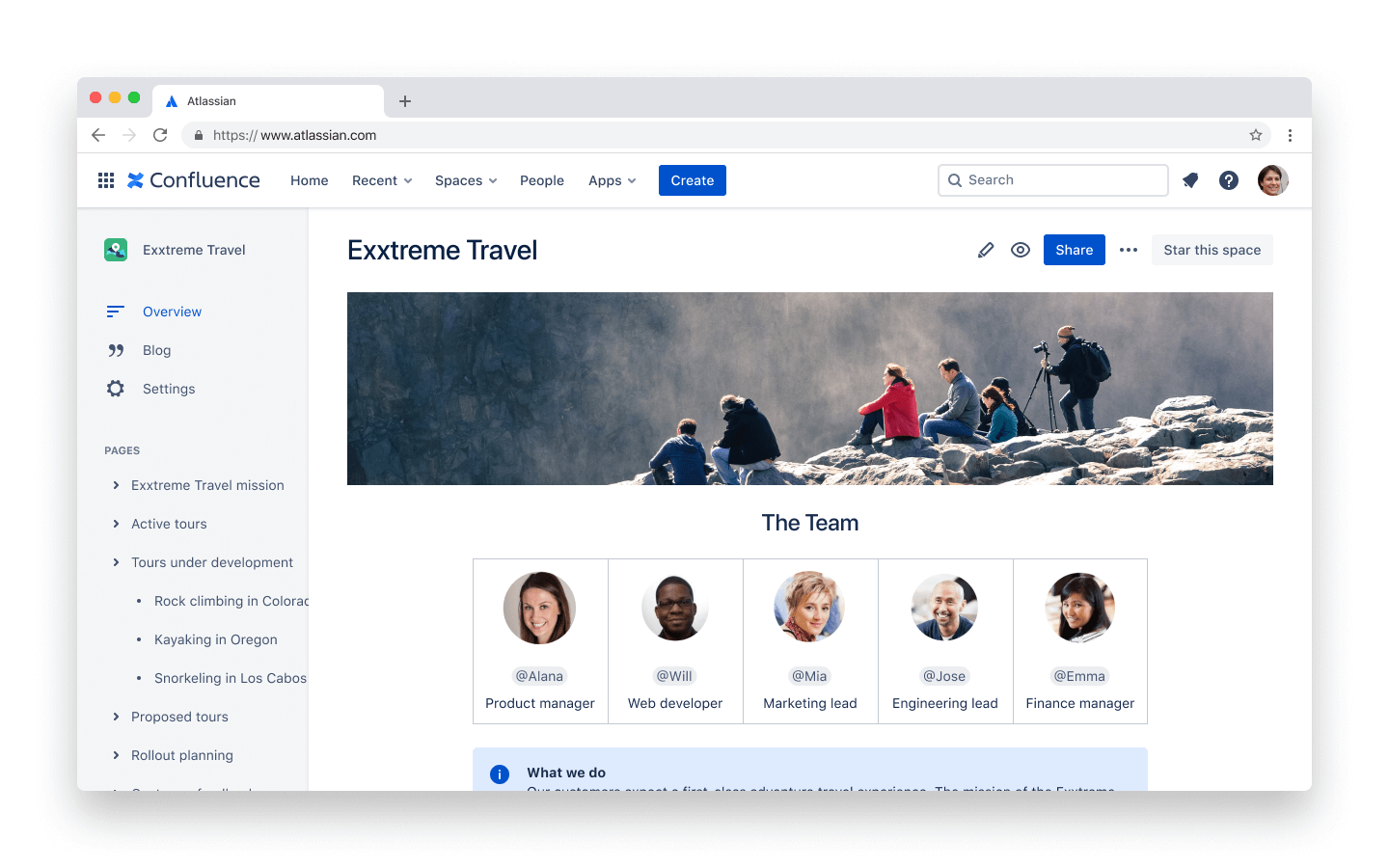 Unlimited spaces and pages screenshot