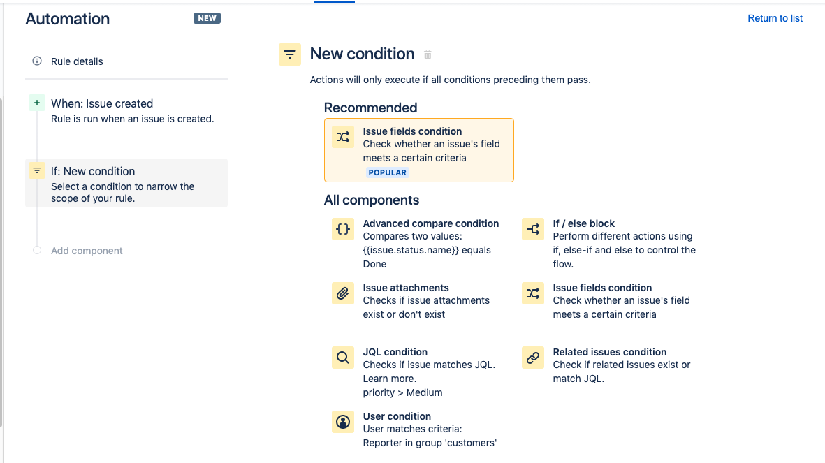 Click the issue fields condition