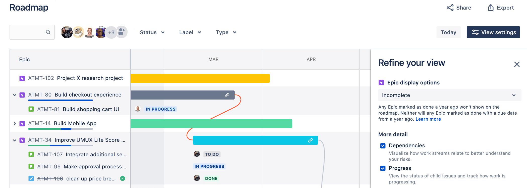 Ajustement des paramètres d'affichage sur la feuille de route JiraSoftware