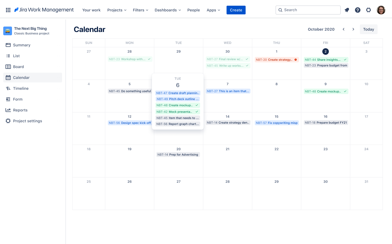 Widok kalendarza