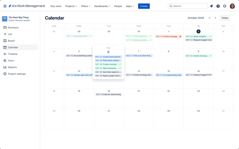 Представление в виде календаря