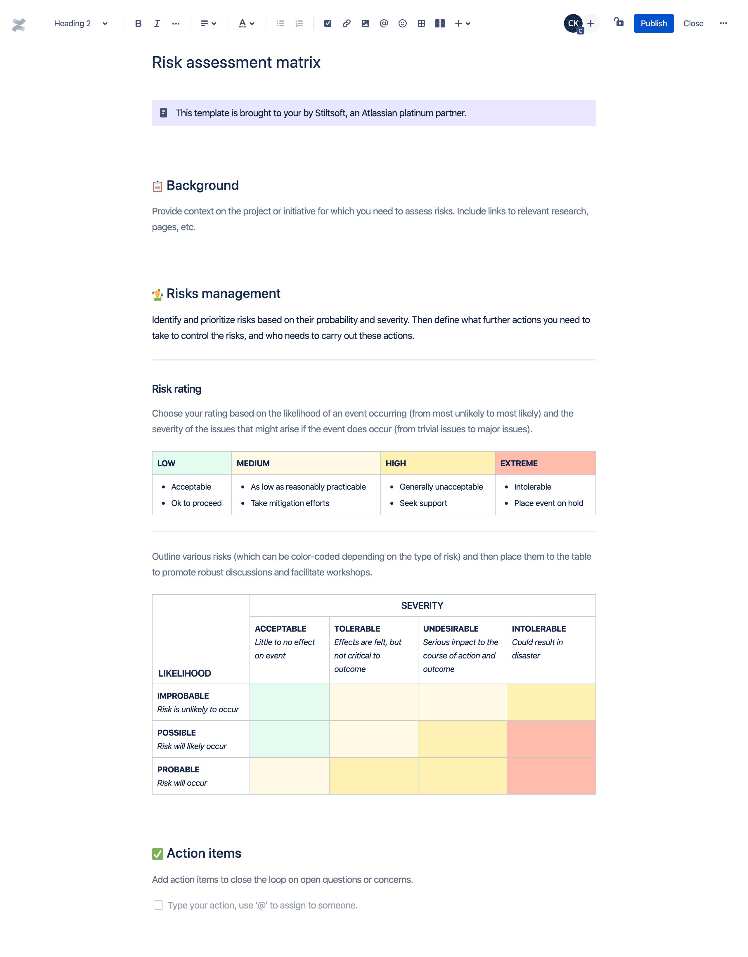 Risk management matrix template