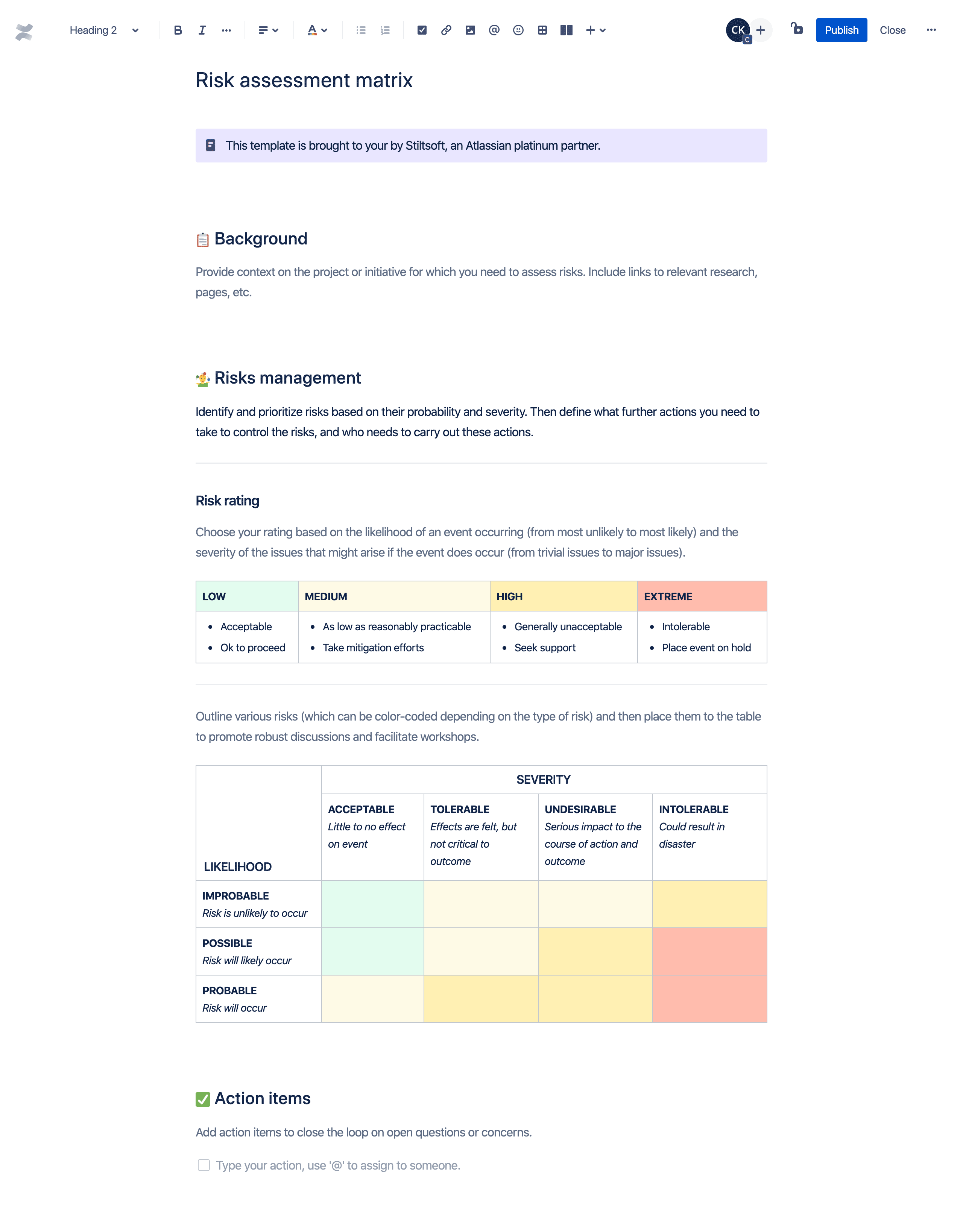 Risk management matrix template