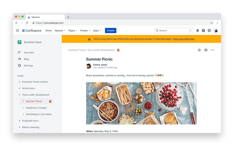 管理者キーを使用していることをユーザーに通知するサイトバナー