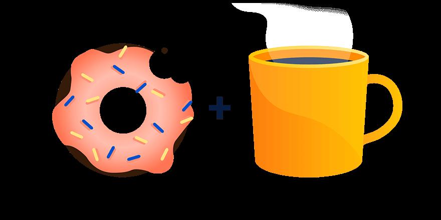 Illustration montrant un beignet et une tasse de café