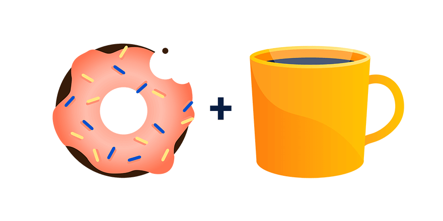 Donut plus cup of coffee illustration
