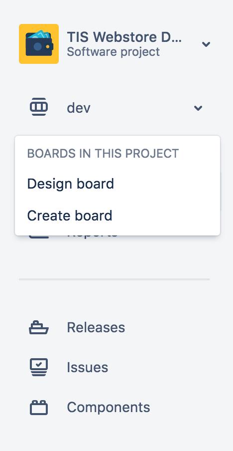 Para navegar de um quadro a outro, use o alternador de quadros localizado no menu esquerdo sob o nome do projeto.