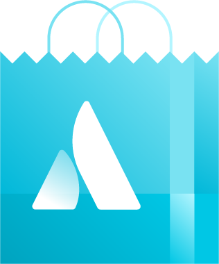 Atlassian shopping bag illustration