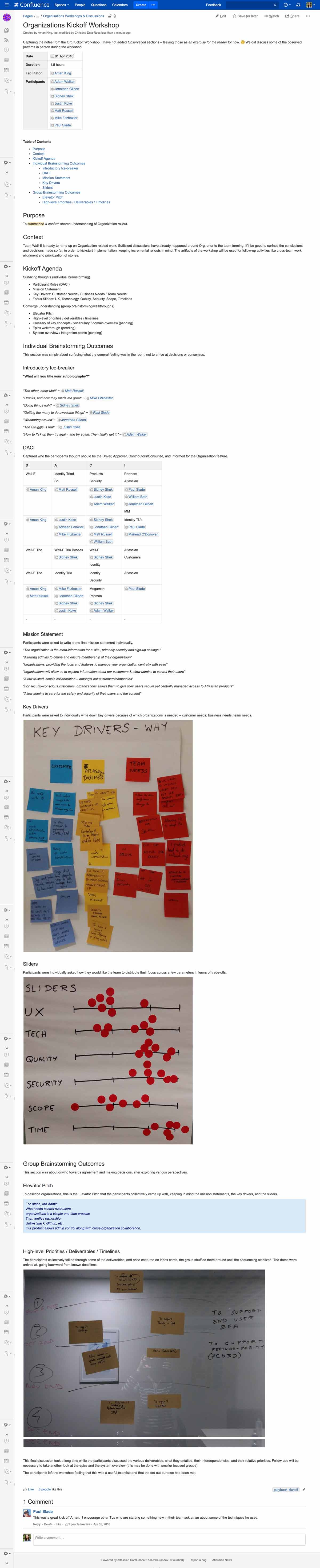 Example of notes and takeaways from a project kick-off meeting.