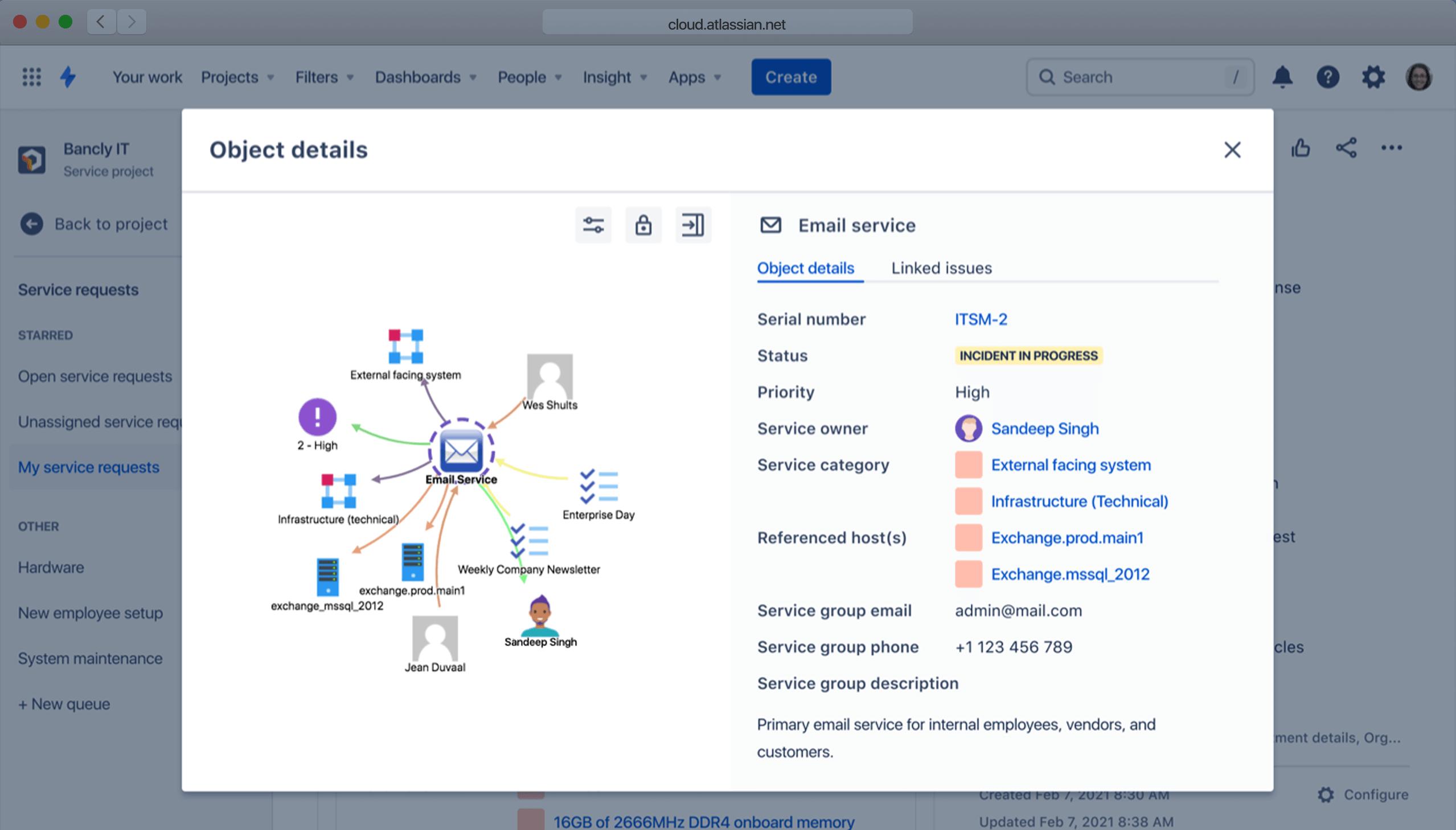 Captura de pantalla de gestión de configuración de JSM