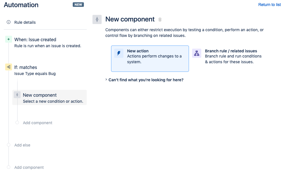 You will be prompted for a New component. Click New Action.