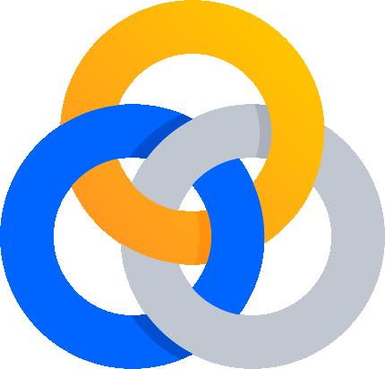 Trzy połączone ze sobą pierścienie