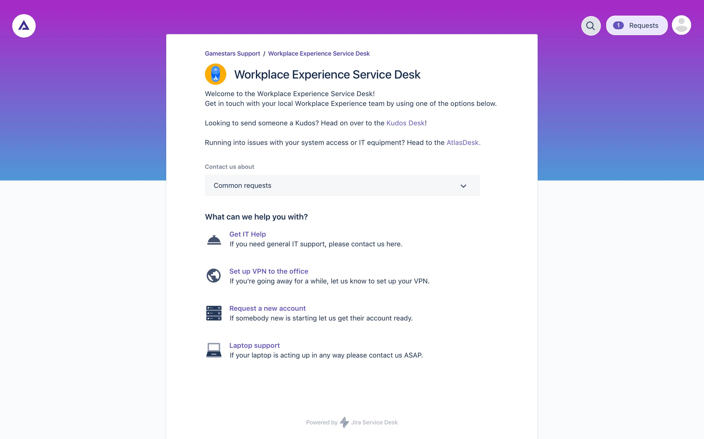Service request management screenshot