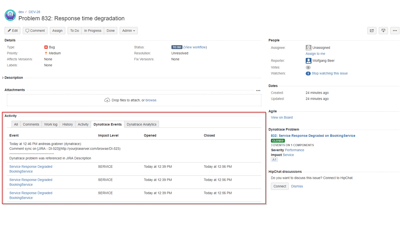 Automate issue creation from Dynatrace problems