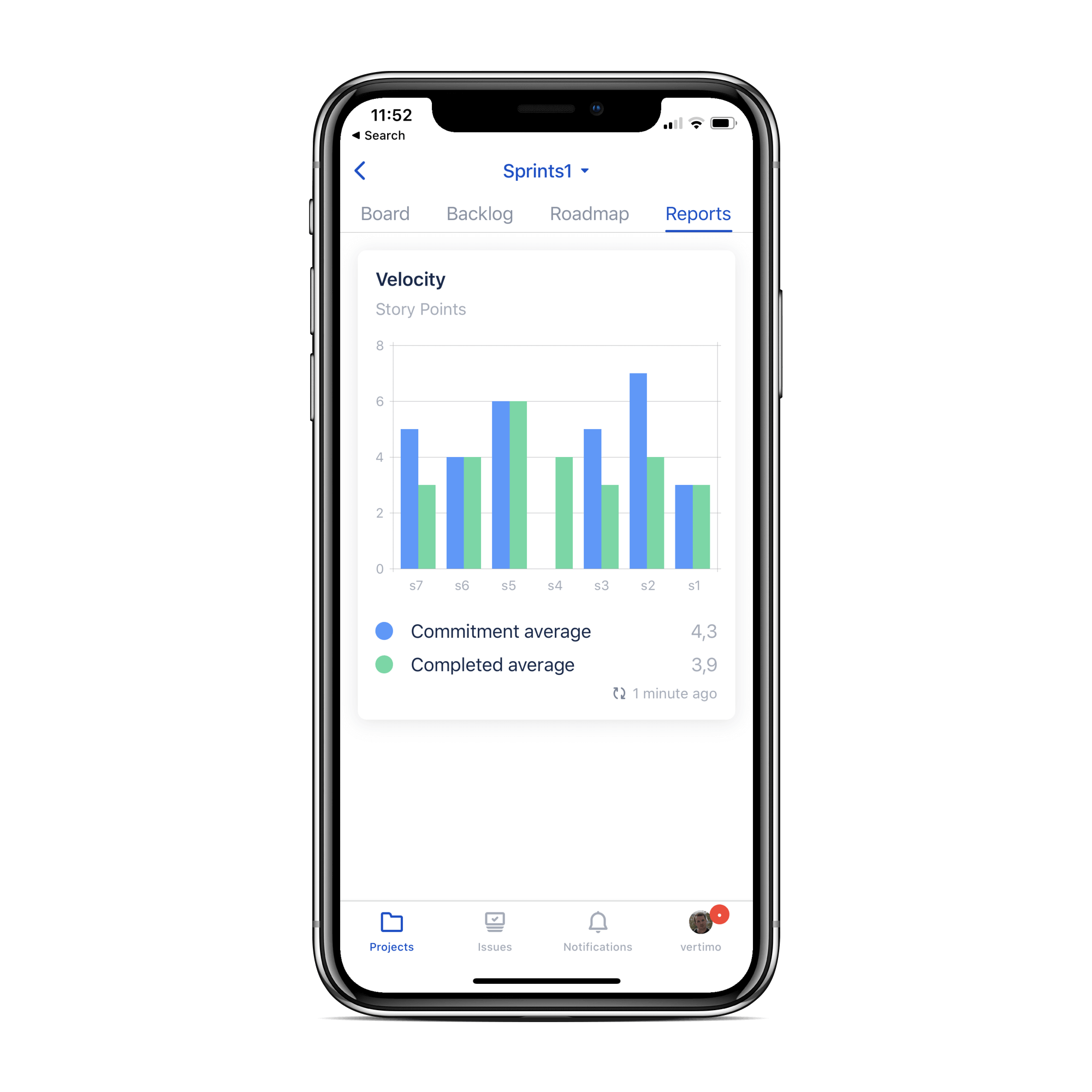 Jira Cloud 모바일 앱의 보고서