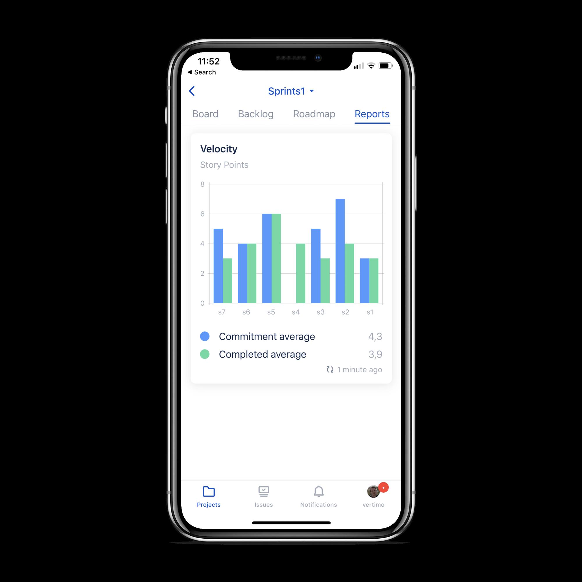 Report nell'app Jira Cloud per dispositivi mobili