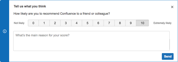 NPS con feedback | Orientador ágil de Atlassian