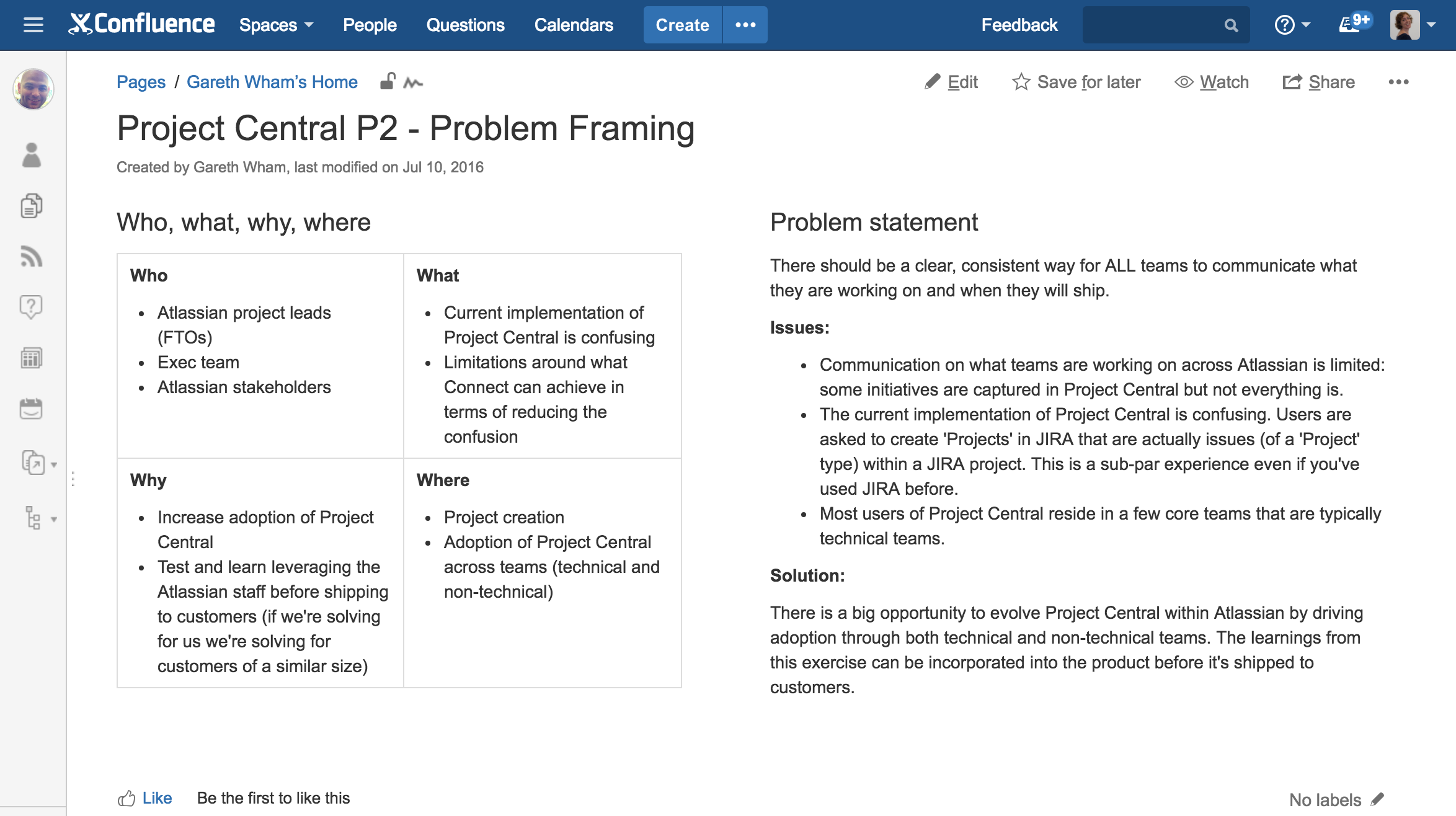 The final problem statement and background info from one of Atlassian's teams.