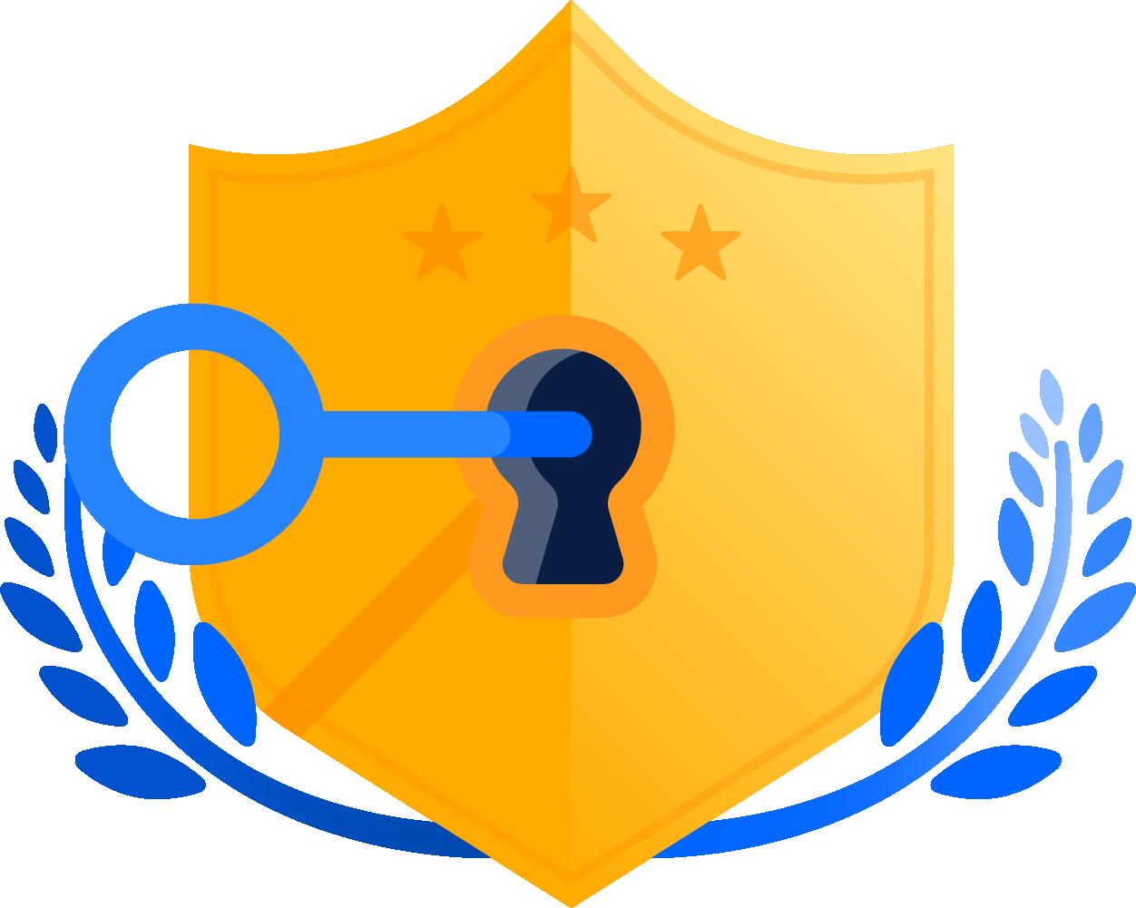 Key in shield lock illustration