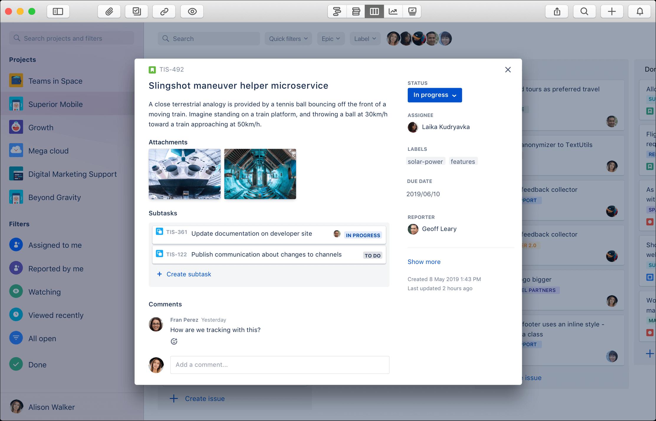 Jira ticket screenshot on Mac