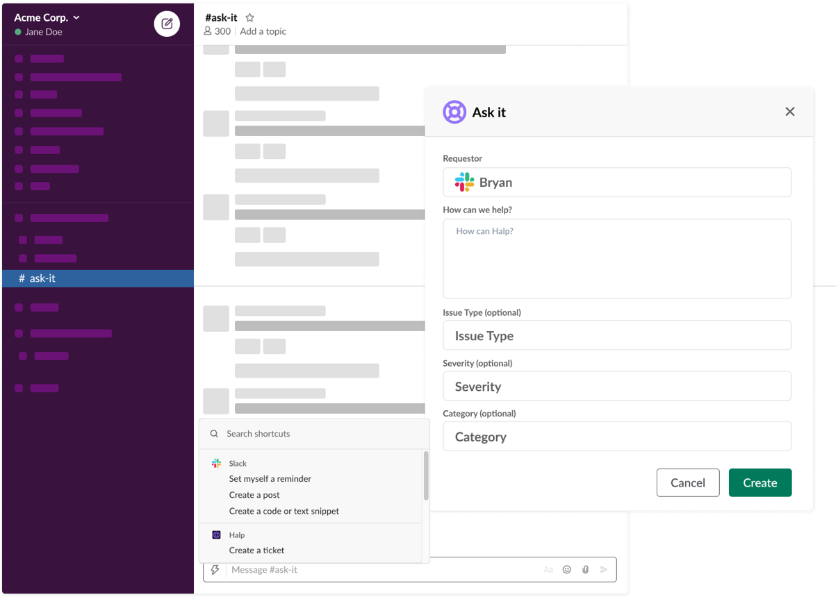 Submit forms in Slack