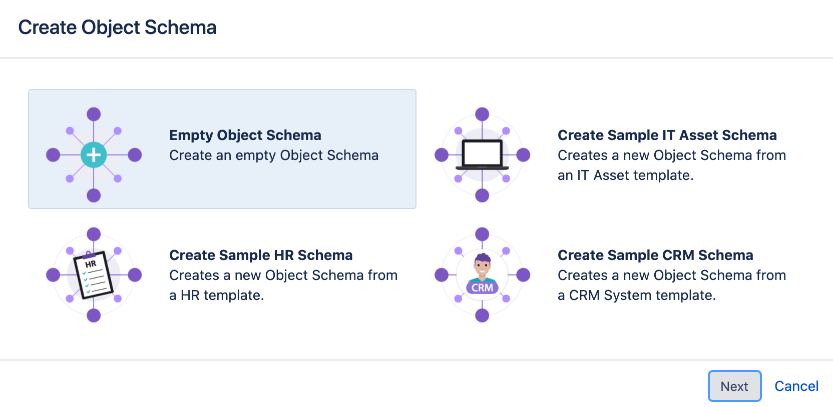 Object schema create form with the options of empty schema, IT asset schema, HR schema and CRM schema.