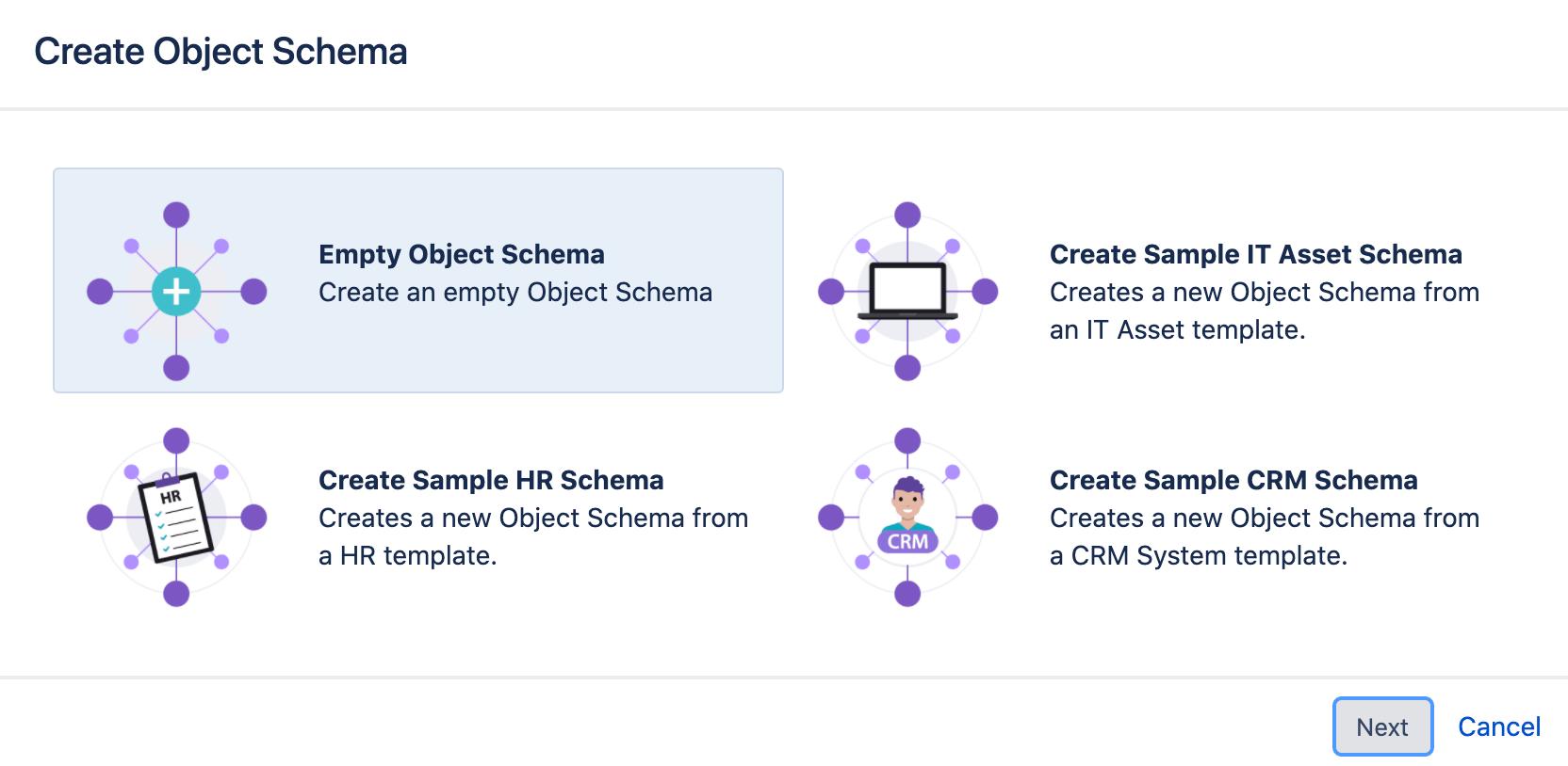 Object schema create form with the options of empty schema, IT asset schema, HR schema and CRM schema.
