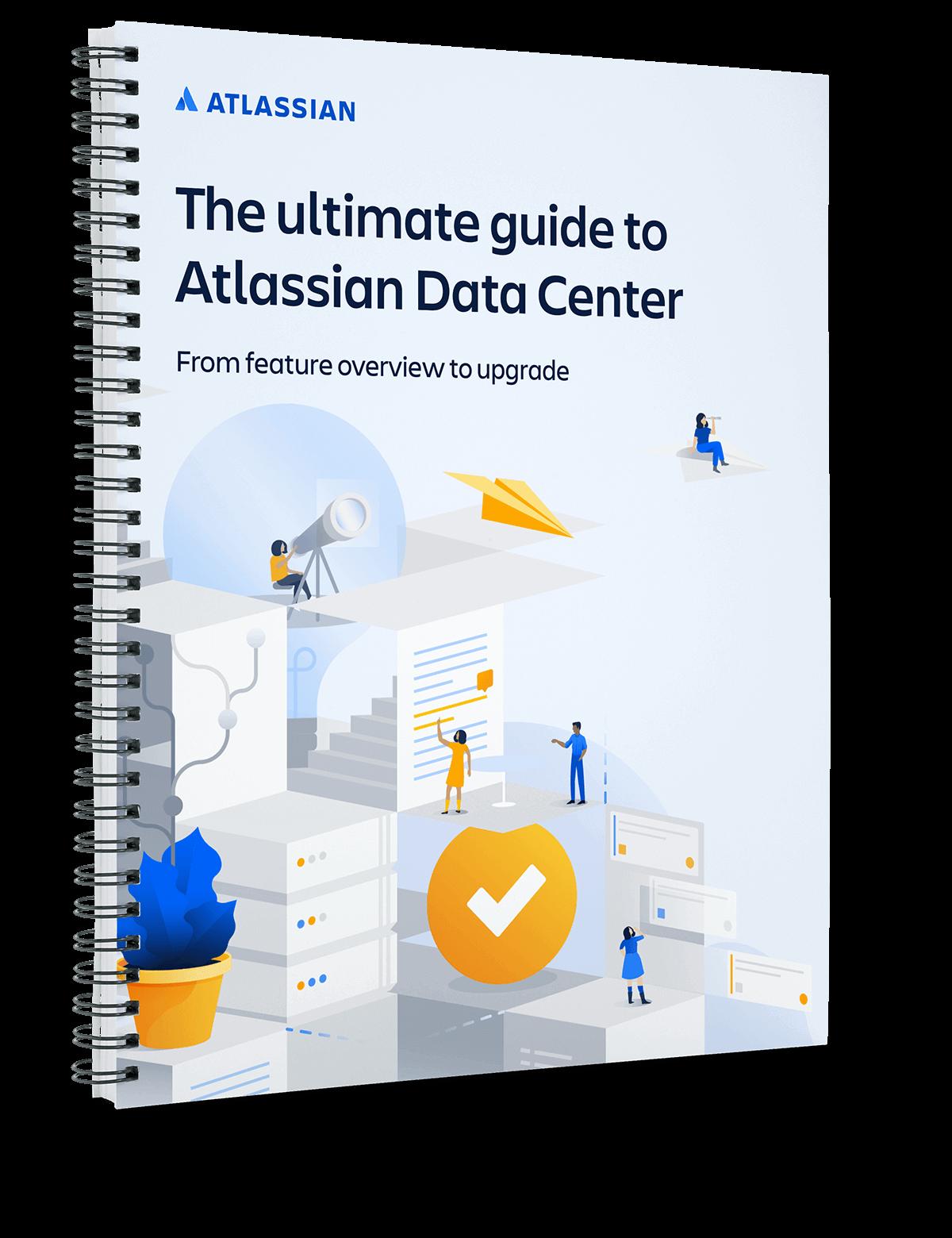 """PDF-Titelseite von """"Der ultimative Leitfaden für Atlassian Data Center"""""""