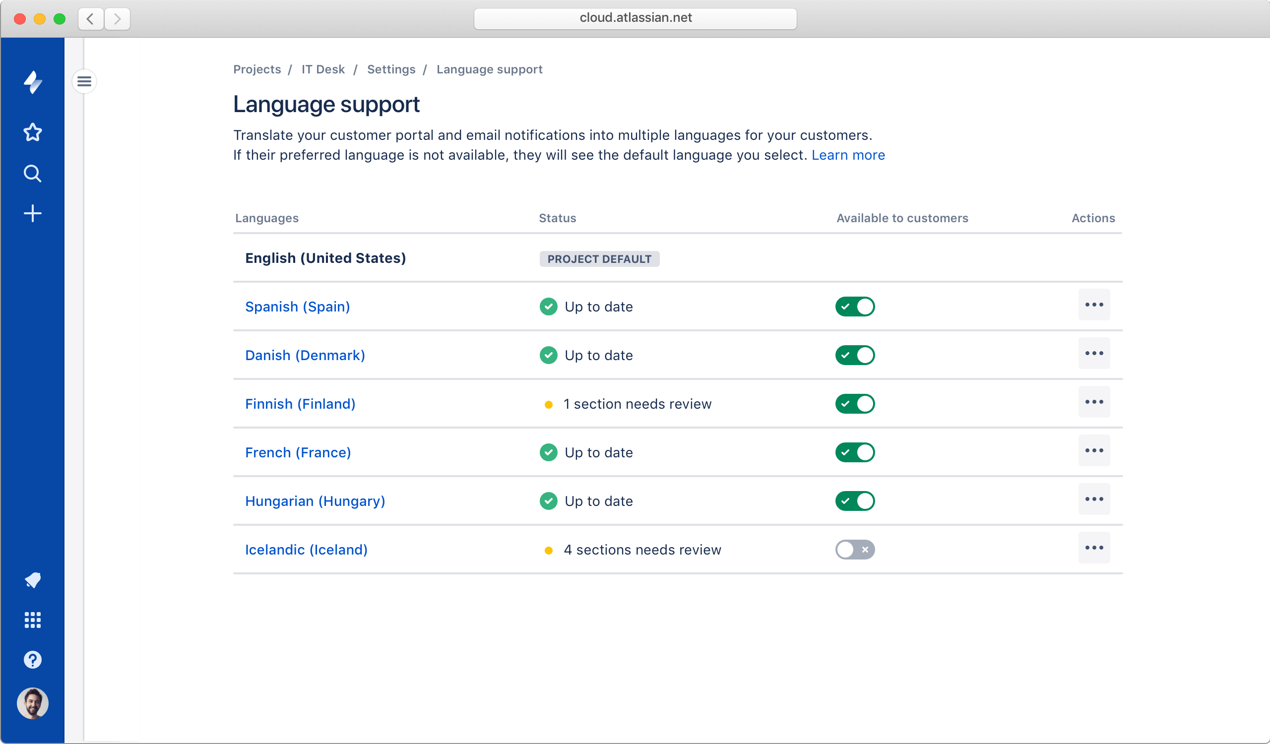 Снимок экрана: поддержка нескольких языков